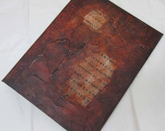 Handmade Journal Refillable Brown Runes Distressed Rustic 12x9 Original traveller notebook fauxdori