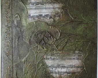 Handmade Journal Refillable Green Music Textured 9x7 Original traveller notebook fauxdori