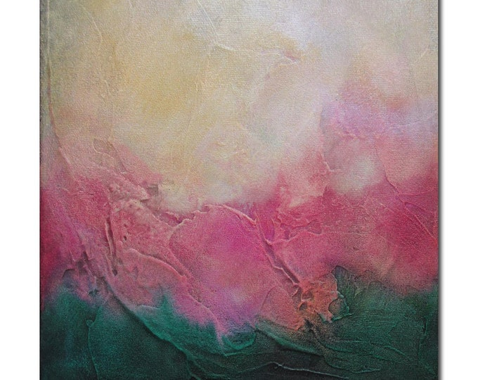 Original Abstract Art Modern Textured Painting pink green. Surfacing series