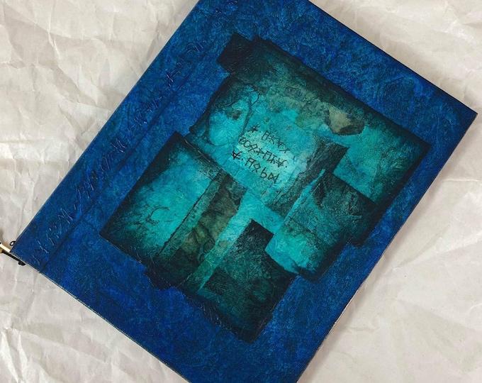 Handmade 9x7 Journal Refillable Blue Green Collage Original Traveller Notebook Fauxdori