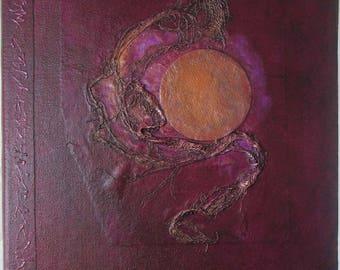 Handmade Journal Refillable Red Burgundy Moon 12x9 Original traveller notebook fauxdori