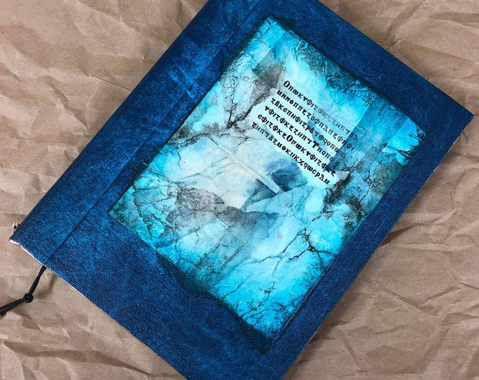 Handmade 8x6 Journal Refillable Distressed Blue Rice Paper Collage Original