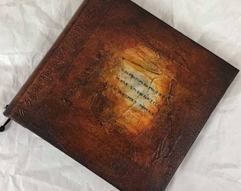 Handmade 6x6 Refillable Journal Brown Runes Text Original Travellers Notebook Hardcover Fauxdori