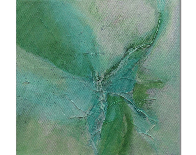 Abstract Expression Art Original Contemporary Painting green turquoise. Divining 20