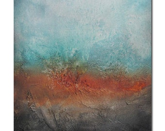 Original Abstract Art Modern Textured Painting turquoise rust brown. Surfacing series
