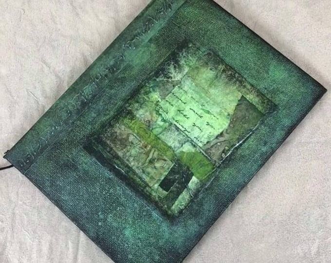 Handmade 8x6 Journal Refillable Green Collage Fauxdori Travellers Notebook Original