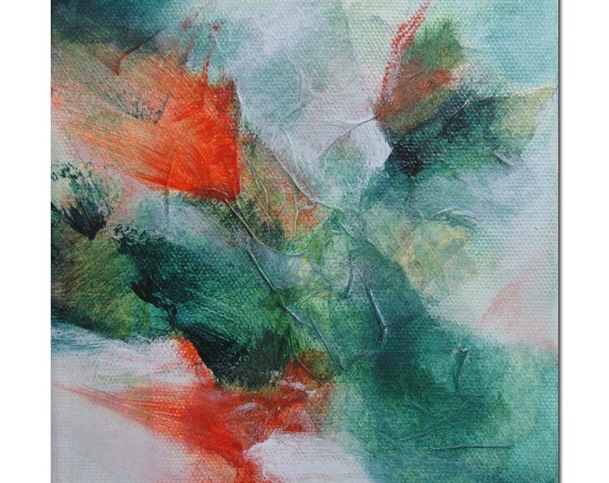 Original Abstract collage art Mixed Media contemporary modern green burnt orange. Divining 29