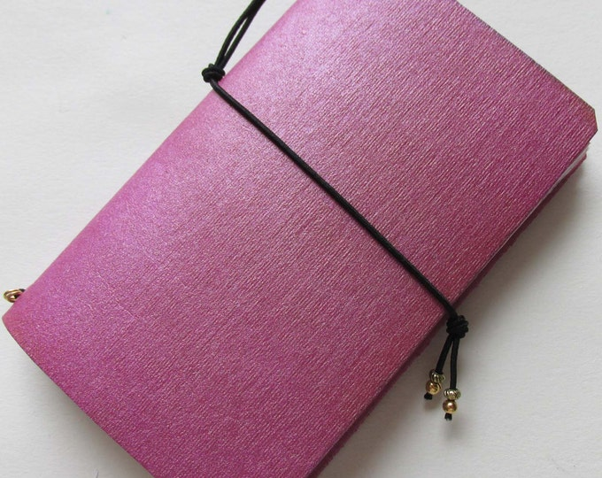 Junk journal mini collage paper notebook micro travellers notebook style fauxdori pink