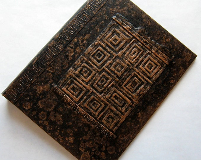 Refillable Journal Handmade Distressed Black Copper Retro Squares  9x7 Original