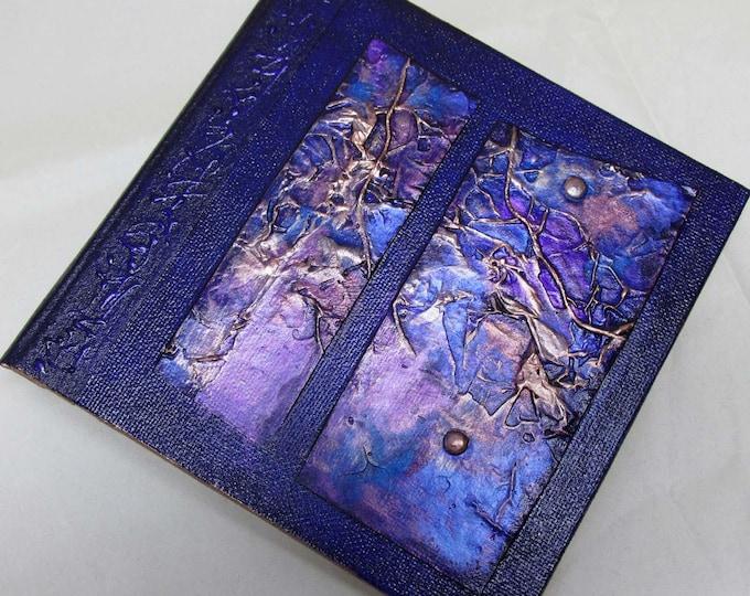 Handmade Refillable Journal Violet Texture Patch 6x6 Original travellers notebook hardcover fauxdori