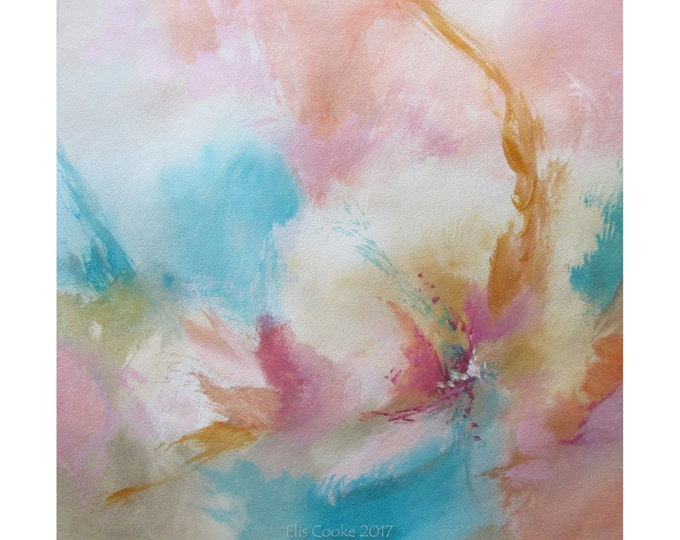 Abstract Modern Expression Art Original Contemporary Painting pink blue yellow Musing 154