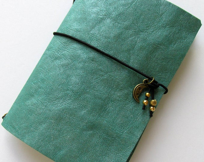 Junk journal mini collage paper notebook micro travellers notebook style fauxdori green