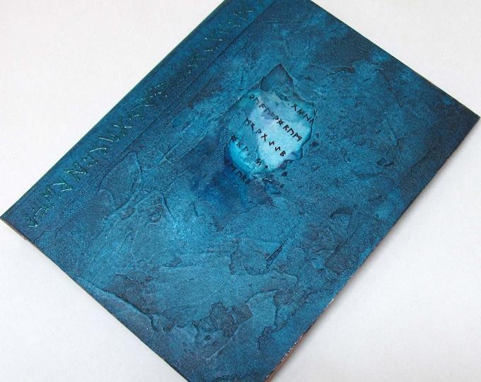 Handmade Refillable Journal Distressed Turquoise Runes textured 8x6 Original travellers notebook hardcover fauxdori