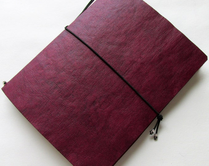 Refillable Junk journal cover with 2 inserts. mini collage paper notebook mini travellers notebook style fauxdori red cranberry