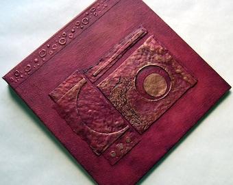 Handmade Journal Distressed Red Copper Lunar Refillable 8x8 Original