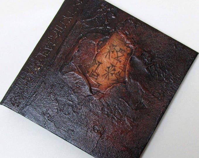 Handmade Refillable Journal Distressed Expresso Cunieform 6x6 Original travellers notebook hardcover fauxdori