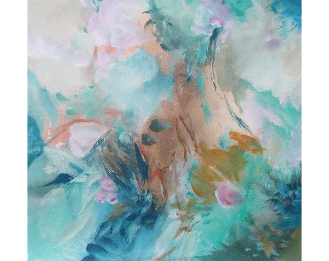 Abstract Modern Expression Art Original Contemporary Painting blue green pink Musing 159