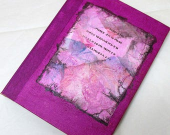 Handmade Refillable Journal Pink Rune collage 8x6 Original travellers notebook hardcover fauxdori