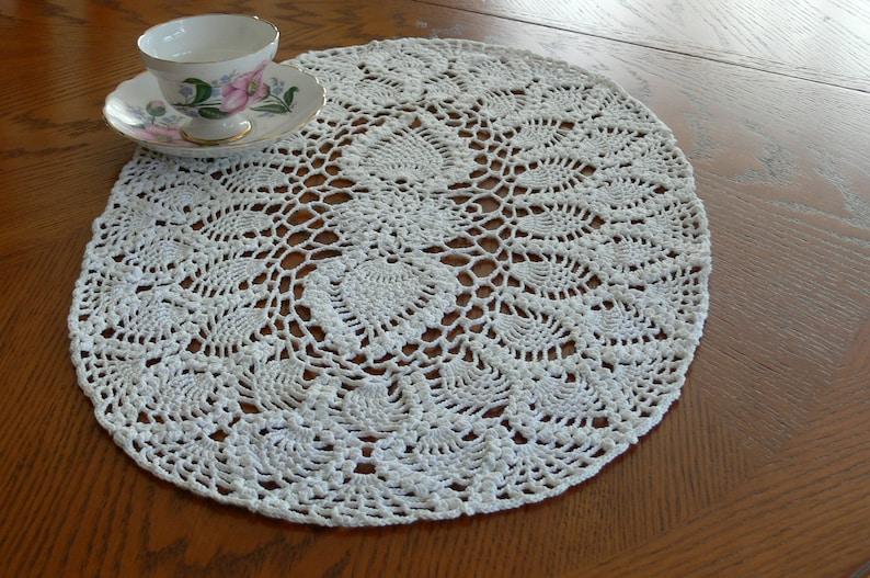 Oblong handmade crocheted Pineapple doily white thread image 0