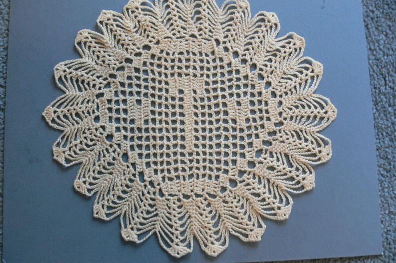 Custom Crocheted Initial Doilies T image 0