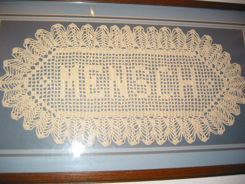 Custom Handmade Crocheted Name Doilies  Crochet Name Doily  image 0