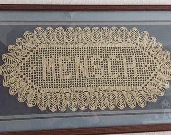 Custom Handmade Crocheted Name Doilies - Gift -  Name Doily - Personalized Doily - Custom Cr    ochet Name - Custom Letters -Gift