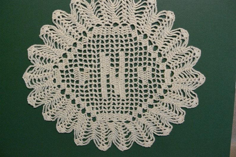 Handmade Custom Crocheted Initial Doilies N image 0