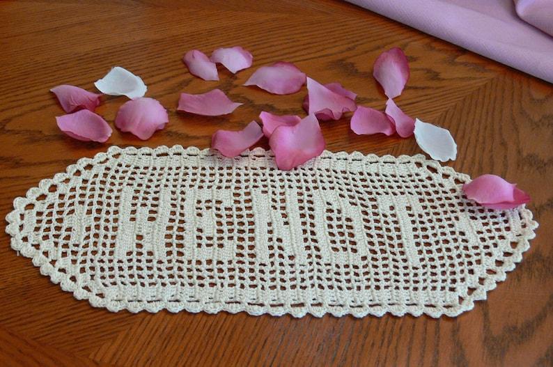 Custom Handmade Crocheted Name Doilies  Crochet Name Doily  image 0