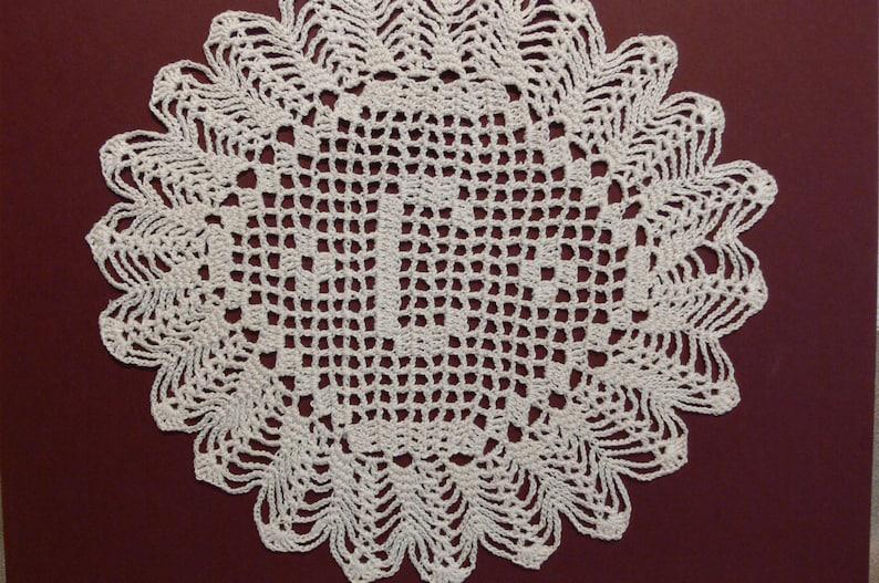 Custom Handmade Crocheted Initial Doily  C image 0