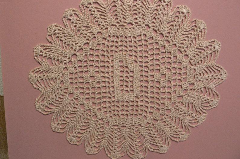Custom Handmade Crocheted Initial Doily  D image 0