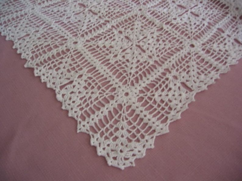 Hand Crocheted White Table Runner  Perfect for all Occasions image 0
