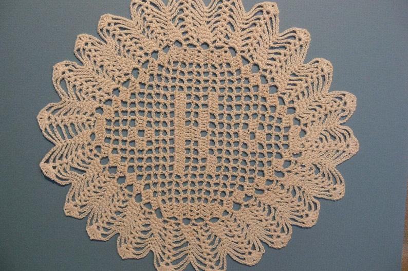 Custom Handmade Crocheted Initial Doily  K image 0