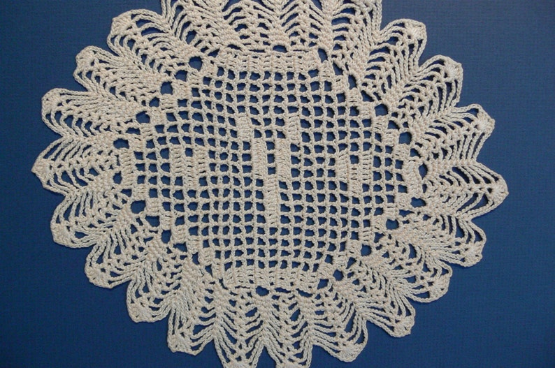 Custom Crocheted Initial Doily   Y image 0