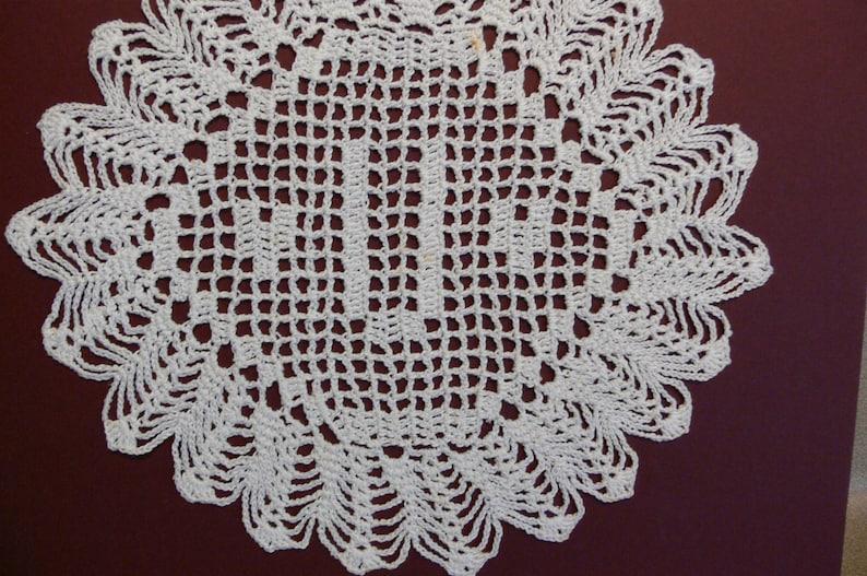 Custom Crocheted Initial Doily  U image 0