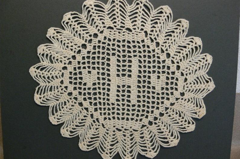 Custom Handmade Crocheted Initial Doily H image 0
