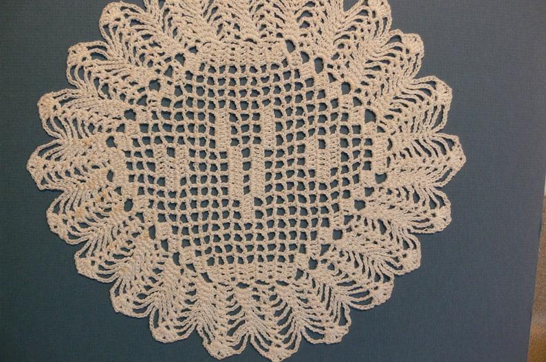 Custom Crocheted Initial Doily  V image 0