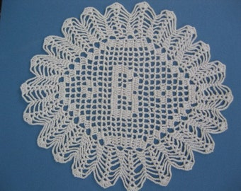 "Custom Handmade Crocheted Initial Doily  ""B"""