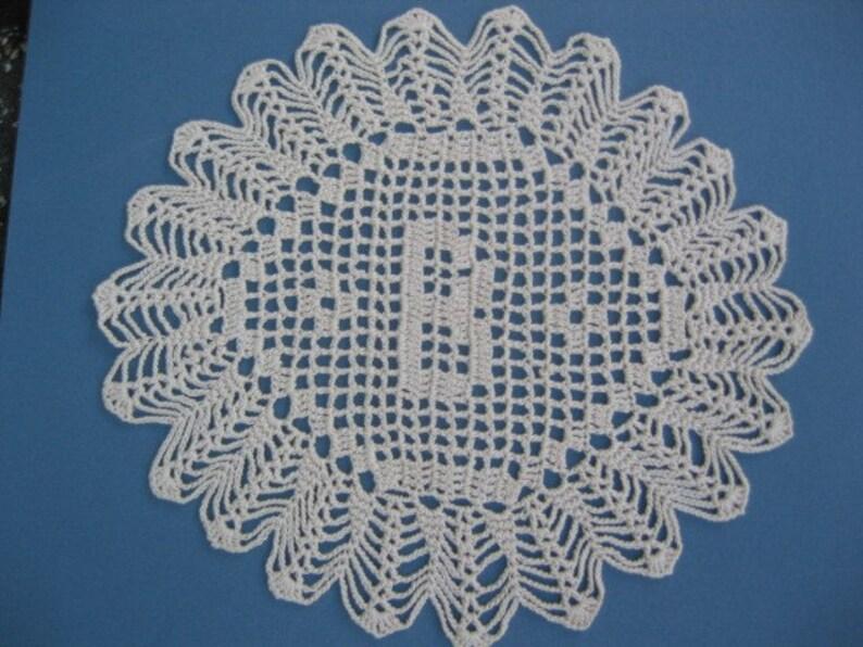 Custom Handmade Crocheted Initial Doily  B image 0