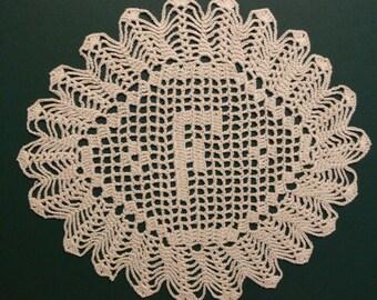"Custom Handmade Crocheted Initial Doily   ""F"""