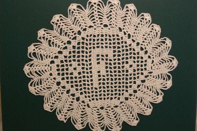 Custom Handmade Crocheted Initial Doily   F image 0