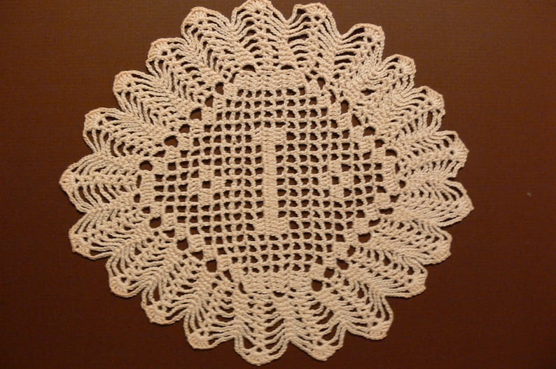 Custom Handmade Crocheted Initial Doily   I image 0