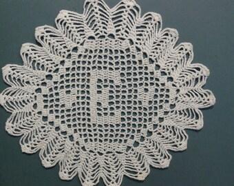 """Custom Handmade Crocheted Initial Doily  """"E"""""""