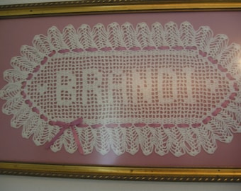 Custom Crocheted Name Doilies - Personalized doily - Custom,Baby Name-Hand Crocheted, Gift, Wedding, Christmas, Birthday, Special, Heirloom,