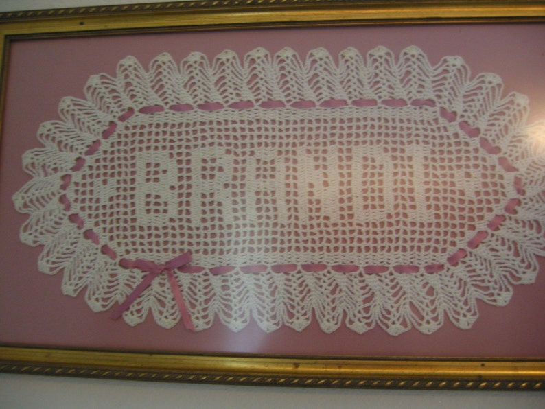Custom Crocheted Name Doilies  Personalized doily  image 0