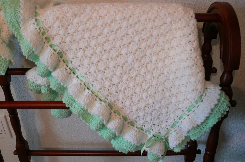 Hand crocheted Baby Blanket Soft and Cuddly image 0