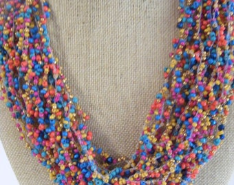 Handmade 20 Strand Seedbeaded Colorful Beaded Necklace