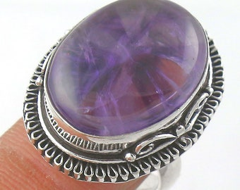 Large Amethyst Cabochon Handmade Silverplated Ring Size 8