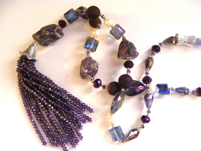 Now 30 dollars Off Amethyst Rough Rock Nugget Glass FW Pearls Beaded Fringed Lariat Magnetic Clasp Necklace Sale