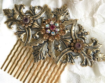 Large Antiqued Gold Tone Swarovski Crystal Hair Comb with Gold and Rose Crystals