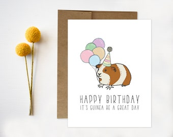 Guinea Pig Birthday Card Pun Funny Punny DIY Happy Cute Quirky